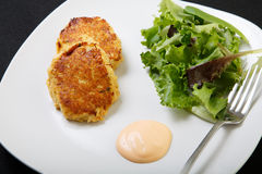 Crab Cakes with Sauce and Salad from Above Royalty Free Stock Image