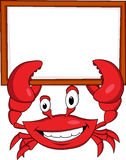 Crab cartoon with blank sign Royalty Free Stock Images