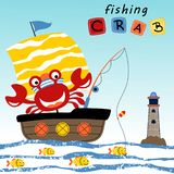 Crab cartoon fishing in the sailboat stock illustration