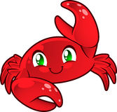 Crab cartoon illustration. Cute Crab. Cancer sign. Red crab smiling lifting hand  illustration Royalty Free Stock Photo