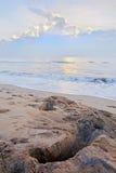 Crab catchers pit Pondicherry Beach Stock Photo