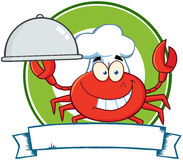 Crab Chef Cartoon Mascot Logo Stock Images