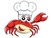 Crab chef mascot presenting isolated. On white royalty free illustration