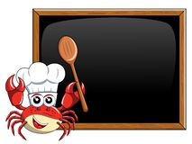 Crab chef mascot presenting  teaching  blank blackboard chalkboa. Crab chef mascot presenting or teaching at blank blackboard or chalkboard Stock Images