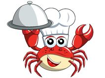 Crab chef mascot serving tray isolated. Crab chef mascot holding serving tray isolated on white Royalty Free Stock Photography