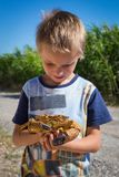 Crab in child hand. stock photos