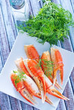 Crab claws. On the plate stock image