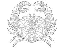 Crab coloring book for adults vector Royalty Free Stock Photos