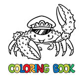 Crab coloring book. Crab in marine captain cap raised a claw. Coloring book or coloring picture. Children vector illustration Royalty Free Stock Photo