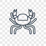Crab concept vector linear icon isolated on transparent backgrou stock illustration