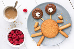 Crab cookie. Creative and fun food art idea for kids Stock Photo