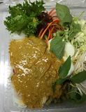 Crab curry sauce with rice noodle royalty free stock photography