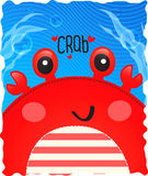 Crab cute in ocean background.  Royalty Free Stock Photos