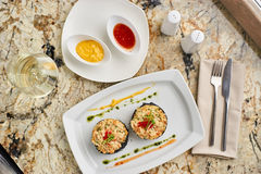 Crab cutlets served with sauces Royalty Free Stock Photos