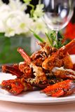 Crab dish. In a table setting Royalty Free Stock Photo