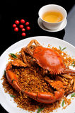 Crab dish. China delicious food  .chinese cuisine Fried Shell Crab with garlic and pepper Stock Image