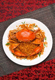 Crab dish. China delicious food .chinese cuisine Fried Shell Crab with garlic and pepper Royalty Free Stock Images