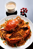 Crab dish. China delicious food  .chinese cuisine Fried Shell Crab with garlic and pepper Royalty Free Stock Image