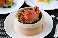 Crab  dish. China delicious food Hairy crabs in Bamboo steamer Royalty Free Stock Photography