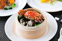 Crab  dish. China delicious food Hairy crabs in Bamboo steamer Stock Photo
