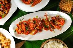 Crab  dish on Fresh Banana Leaf. Wok Fried Crab with Sambal Sauce.thai cuisine.chinese cuisine Stock Photos