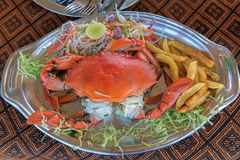 Crab dish seafood in Restaurant dinner food. royalty free stock images