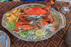 Crab dish seafood in Restaurant dinner food. stock image