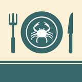 Crab in a dish. On the table Royalty Free Stock Images