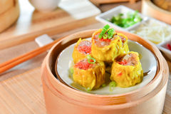 Crab Dumplings in chinese style in bamboo tray in asian restaura Stock Photos