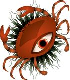 Crab with eye and pearl at background stock illustration