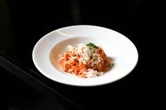 Crab fettuccine or crab pasta. Dish Stock Images