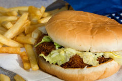Crab Fish Burger With French Fries Stock Photo