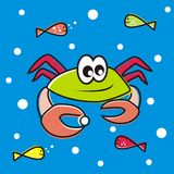Crab and fish. Vector icon, wallpaper Stock Photography