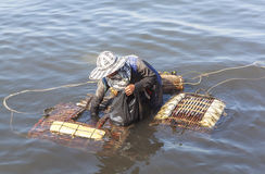 Crab fisher women in Kep, Cambodia Royalty Free Stock Images