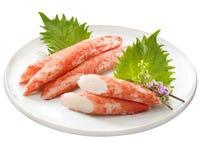 Crab flavor boiled fish paste Ocean Kingtempura on white platter Royalty Free Stock Photos