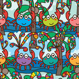 Crab fly happy colorful seamless pattern Stock Photography