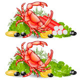 Crab food vegetable background Royalty Free Stock Photos