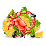 Crab food vegetable background meal Stock Image