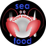 Crab with a fork and knife hid behind the plate sea food logotype. Crab with a fork and knife hid behind the plate sea food art logotype Royalty Free Stock Images