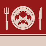 Crab, Fork and Knife icon Stock Image