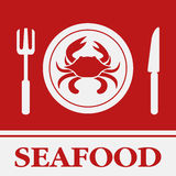 Crab, Fork and Knife icon, Royalty Free Stock Images