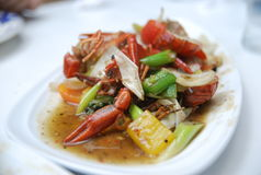 Crab fried onion Stock Images