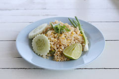 Crab Fried Rice of Thai foods in blue dish. Royalty Free Stock Photos