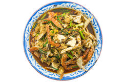 Crab fried with thai chilli paste Stock Photo