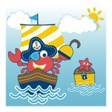 Crab the funny pirate on the sailboat stock illustration