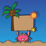 Crab happy hold card Royalty Free Stock Images