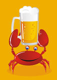 Crab holds beer Stock Photos