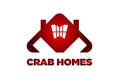 CRAB HOMES horror red crab logo design. You can use this logo as a real Estate or construction logo or any society logo Stock Image