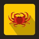Crab icon, flat style Stock Image