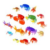 Crab icons set, cartoon style. Crab icons set in cartoon style. Seafood set collection vector illustration Stock Photo